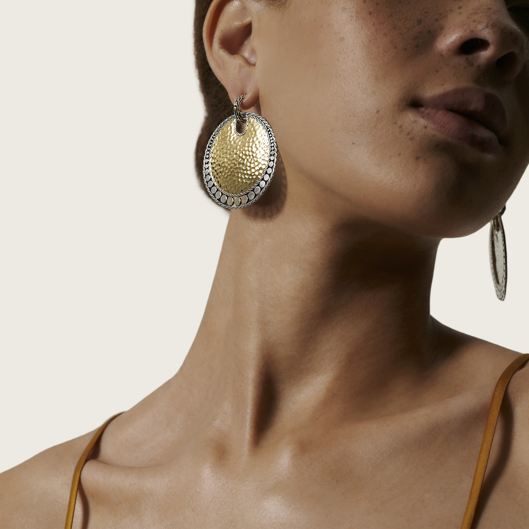 John Hardy Dot Two Tone Disc Drop Earrings on model