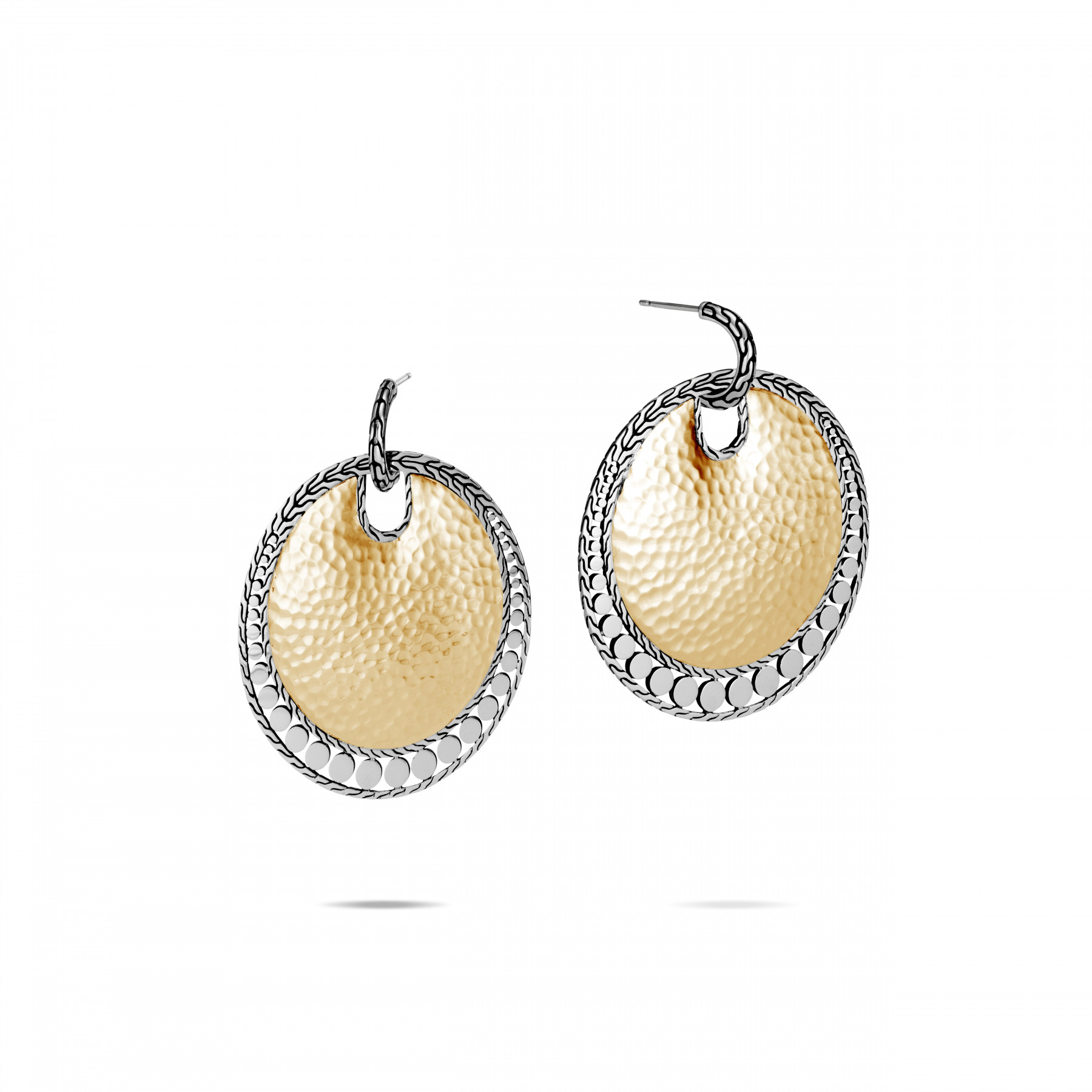 John Hardy Dot Two Tone Disc Drop Earrings front view