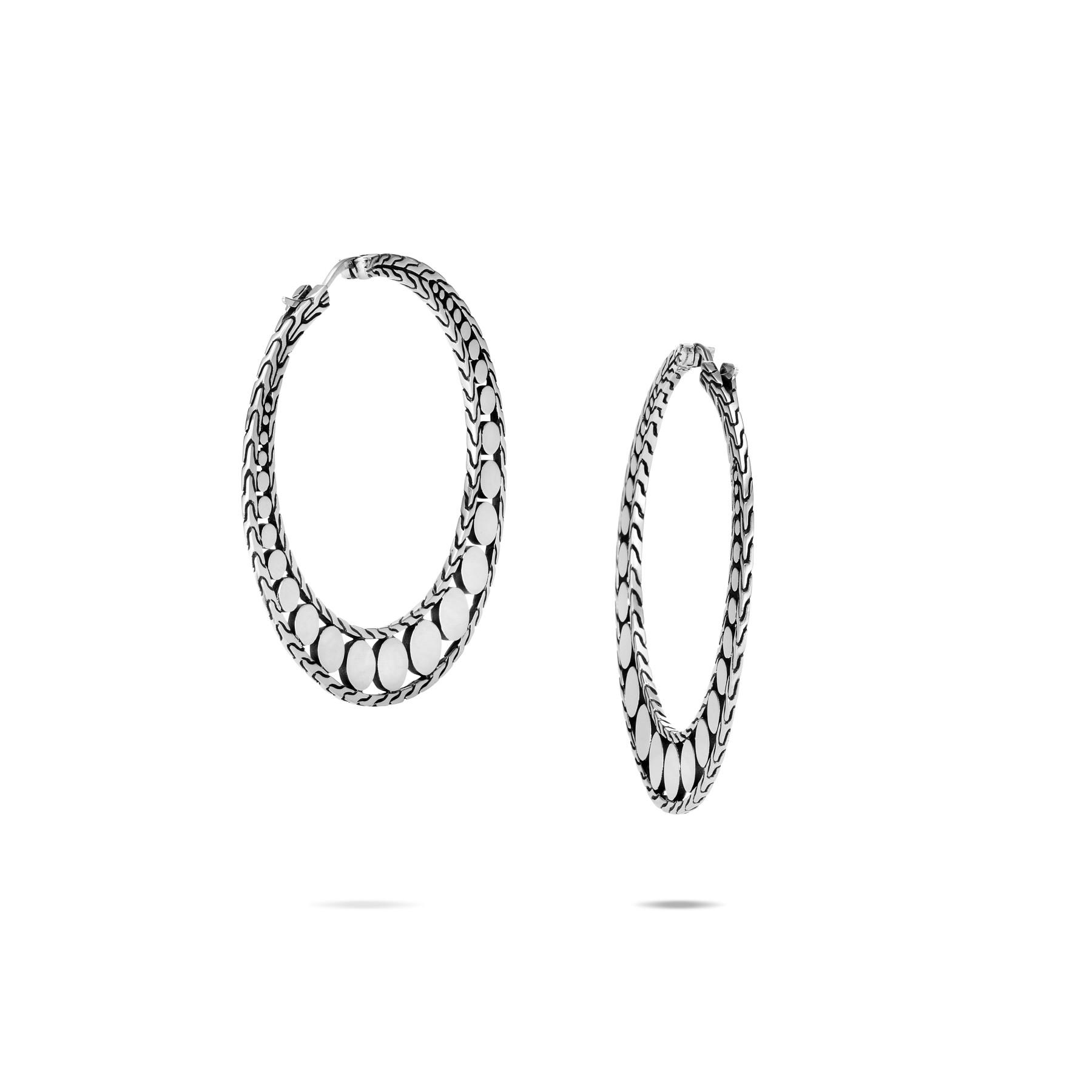 John Hardy Dot Silver Hoop Earrings - 34mm back view