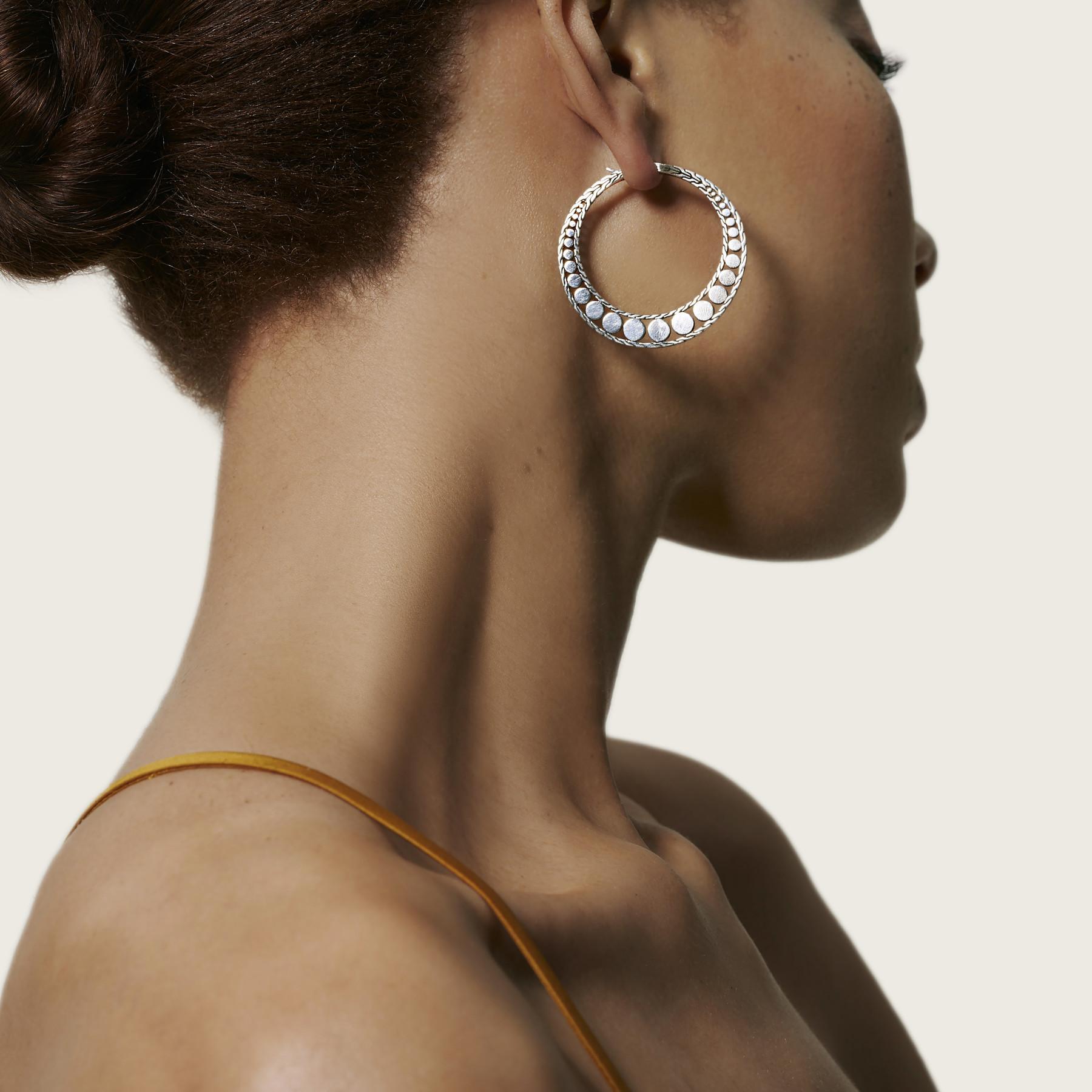 John Hardy Dot Silver Hoop Earrings - 34mm on model