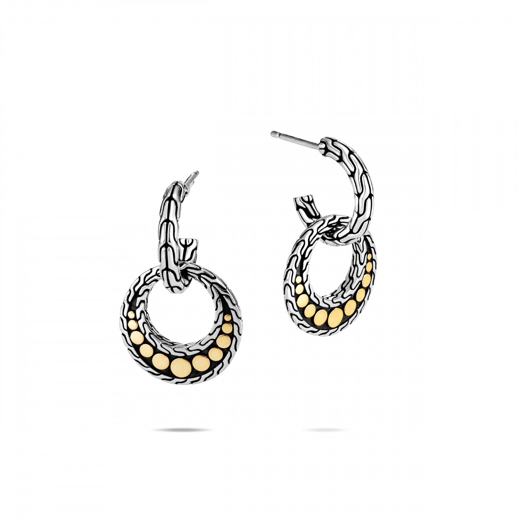 John Hardy Dot Two Tone Drop Earrings front view