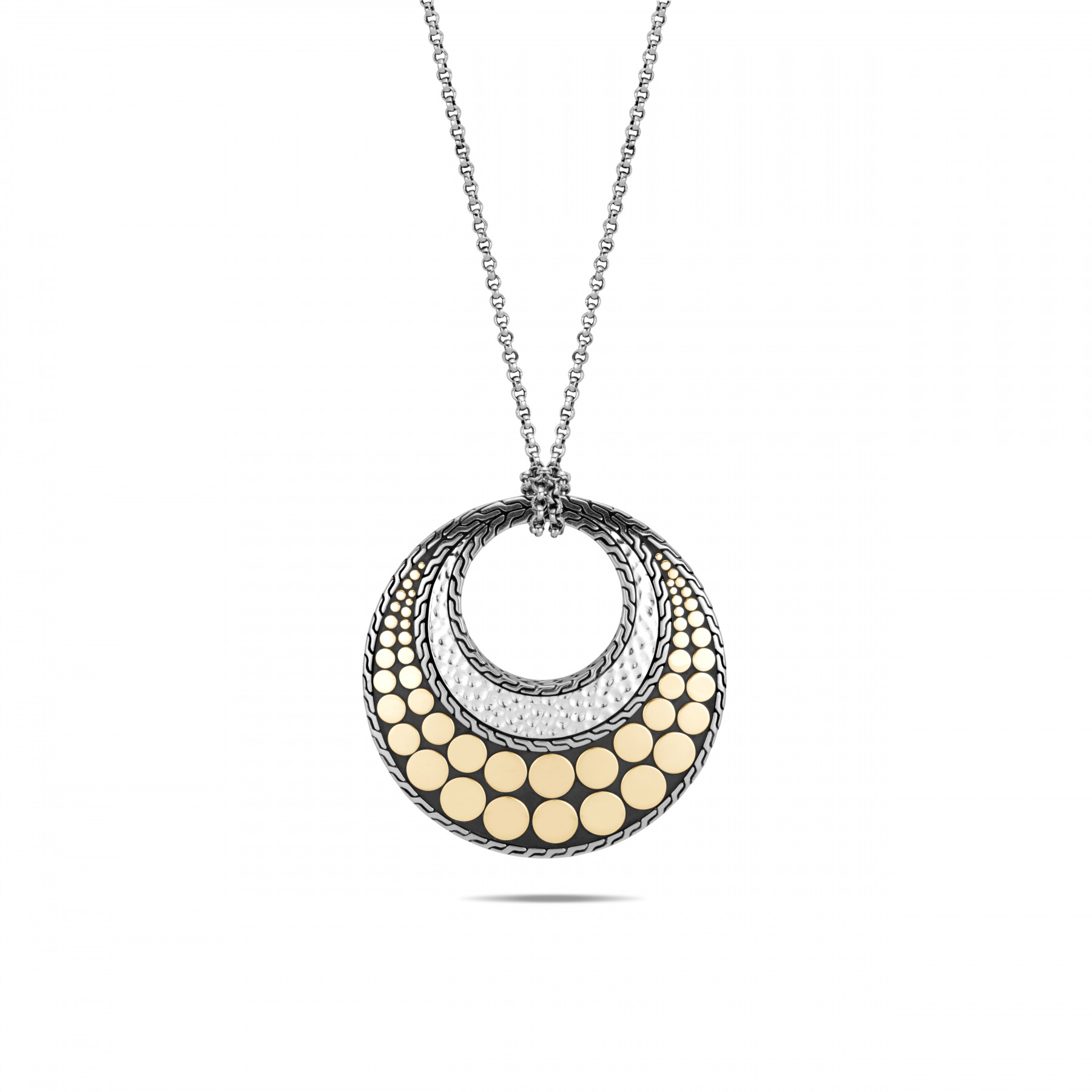 John Hardy Dot Two Tone Circle Necklace front view