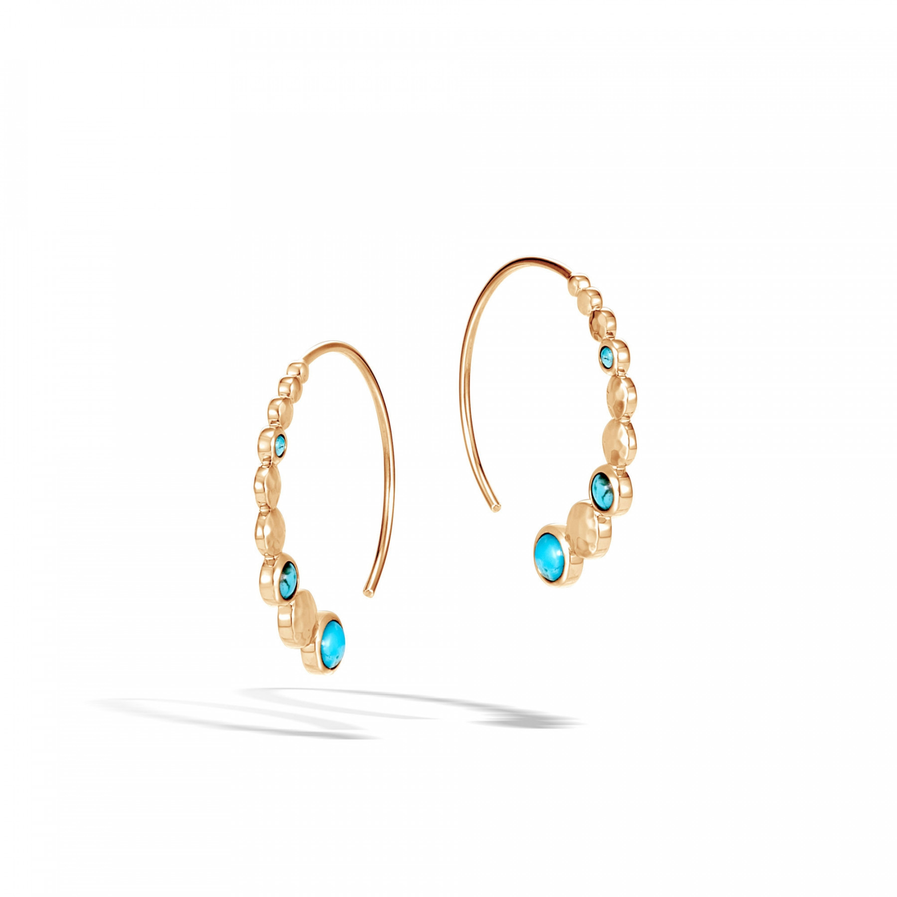 John Hardy Dot Small Turquoise Hoop Earrings in 18k Yellow Gold front view