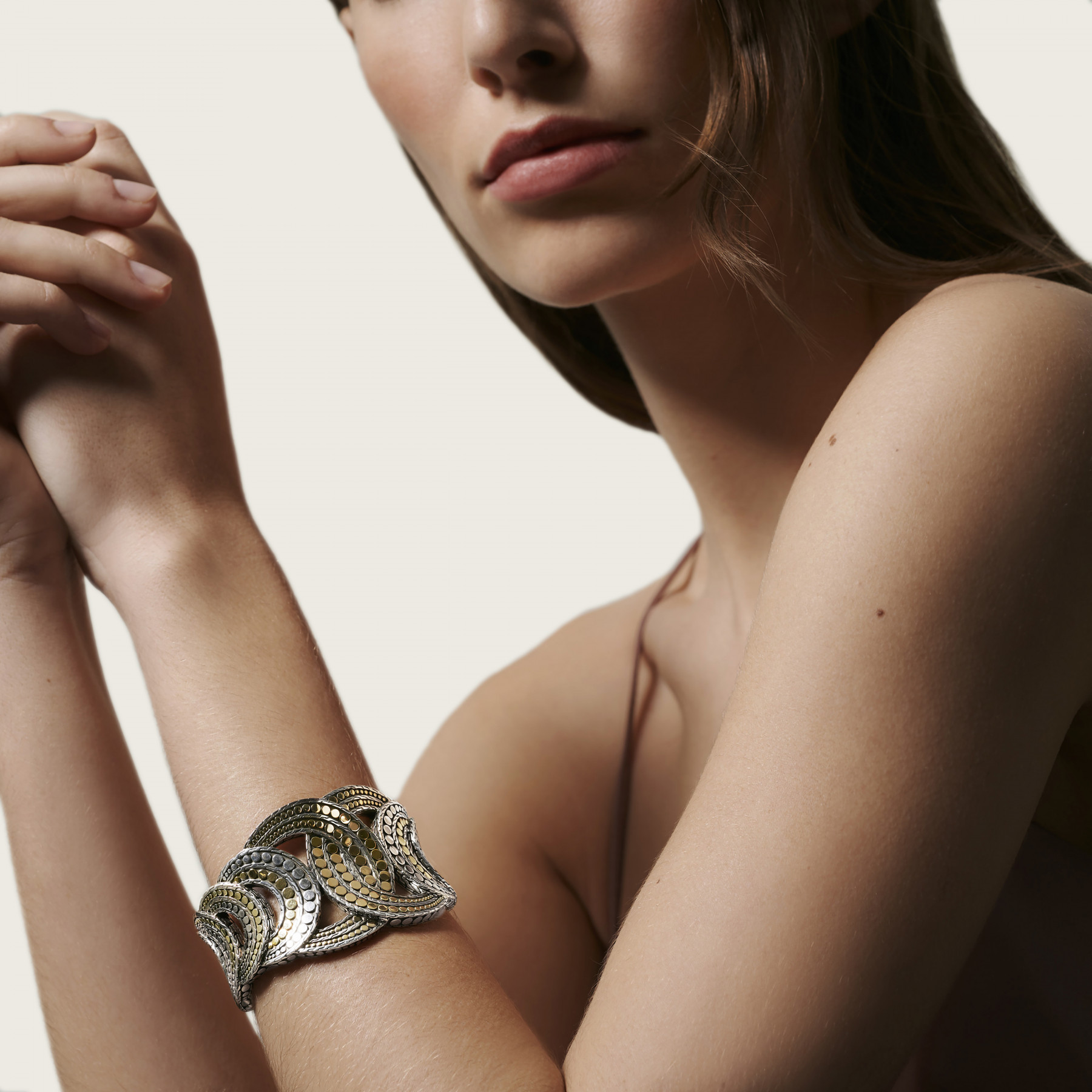 John Hardy Dot Interlinked Two Tone Cuff on model