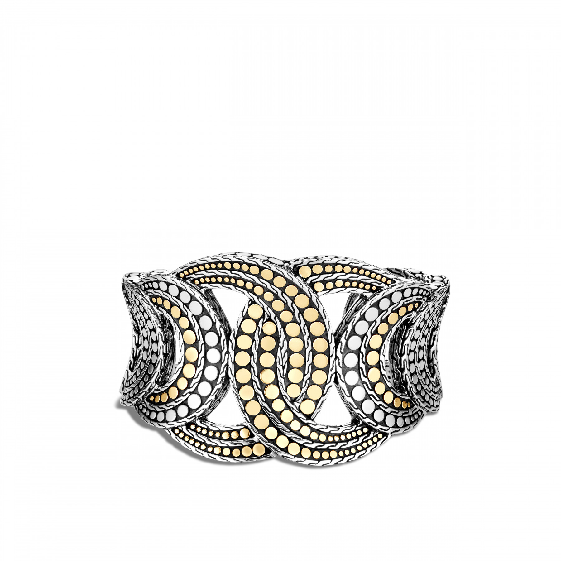 John Hardy Dot Interlinked Two Tone Cuff front view