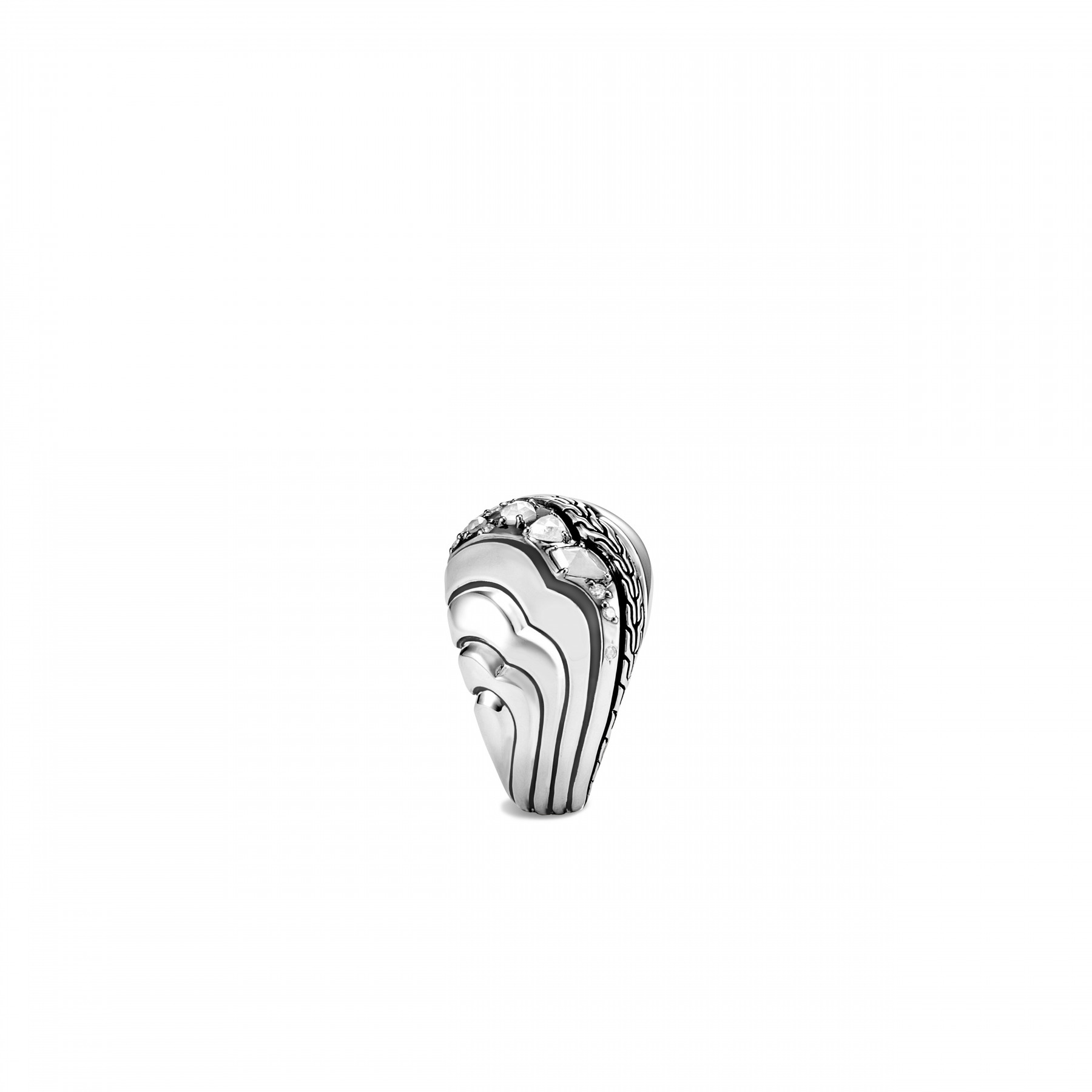 John Hardy Lahar White and Grey Diamond Dome Ring side view