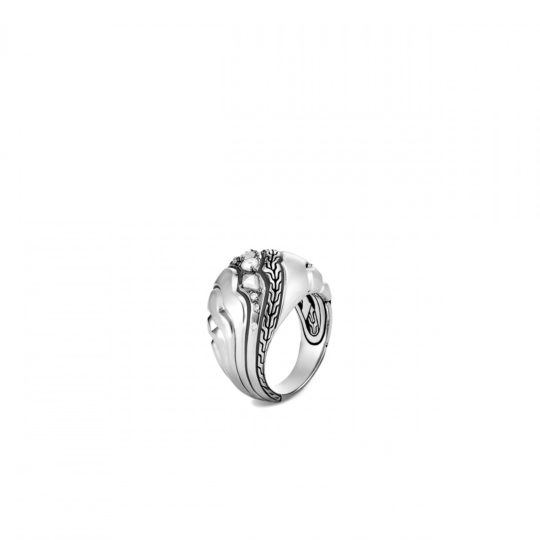 John Hardy Lahar White and Grey Diamond Dome Ring front view