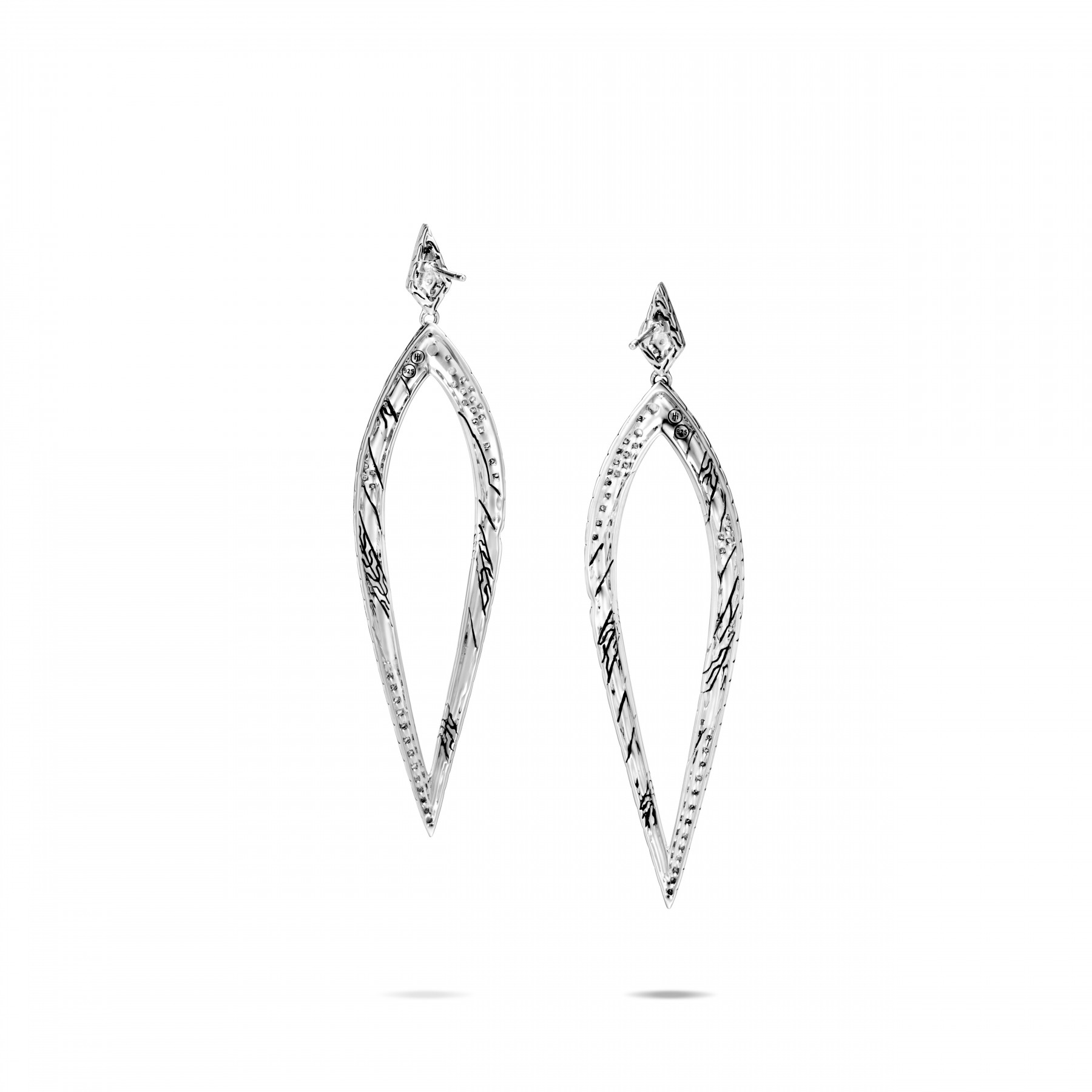 John Hardy Lahar White and Grey Diamond Spear Drop Earrings back view