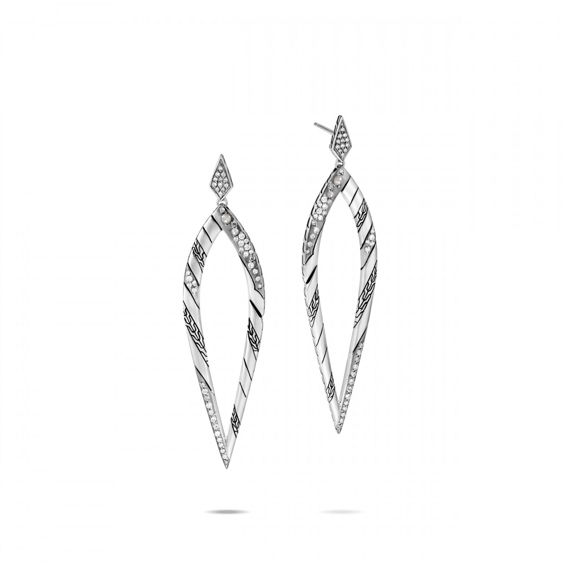 John Hardy Lahar White and Grey Diamond Spear Drop Earrings front view