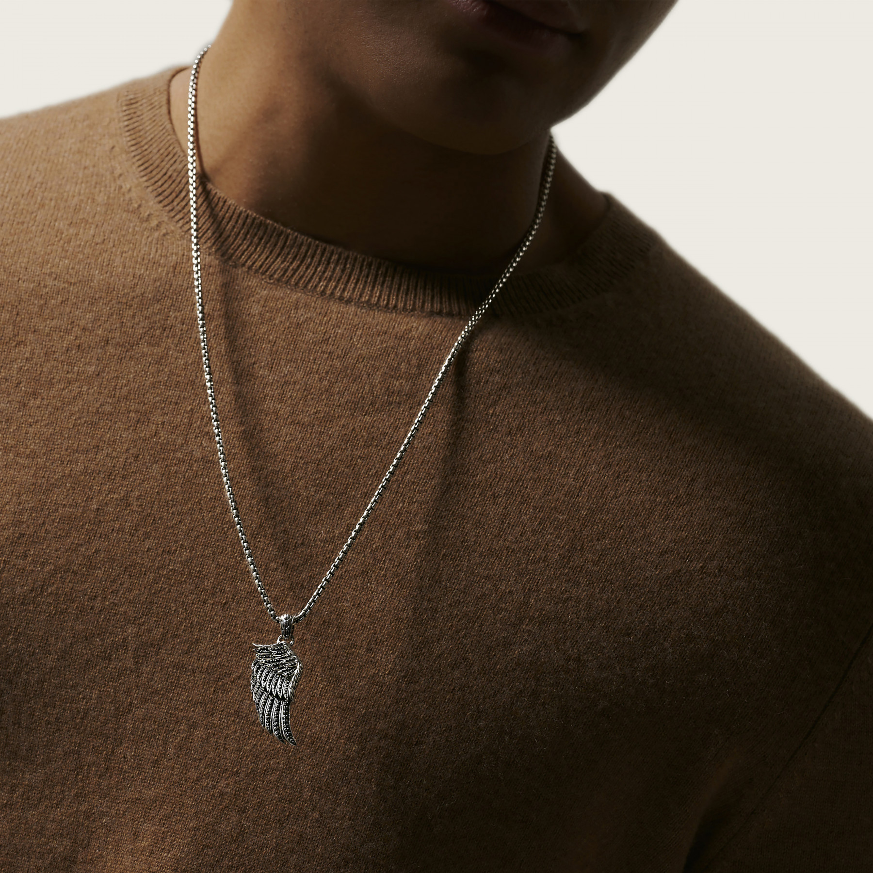 John Hardy Legends Eagle Silver and Sapphire Wing Necklace on model