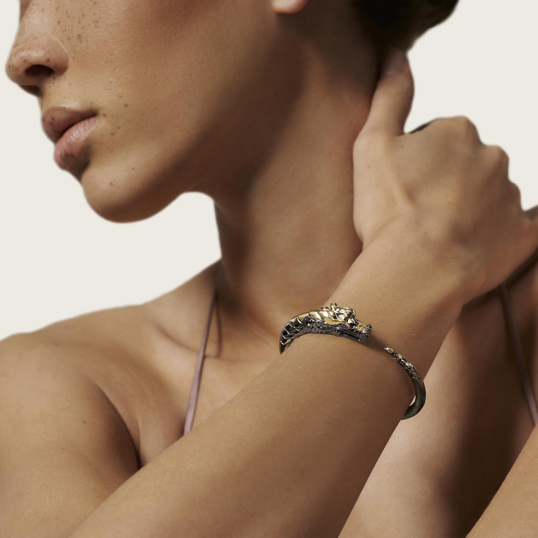 John Hardy Legends Naga Two Tone Blue Sapphire Cuff Bracelet on model