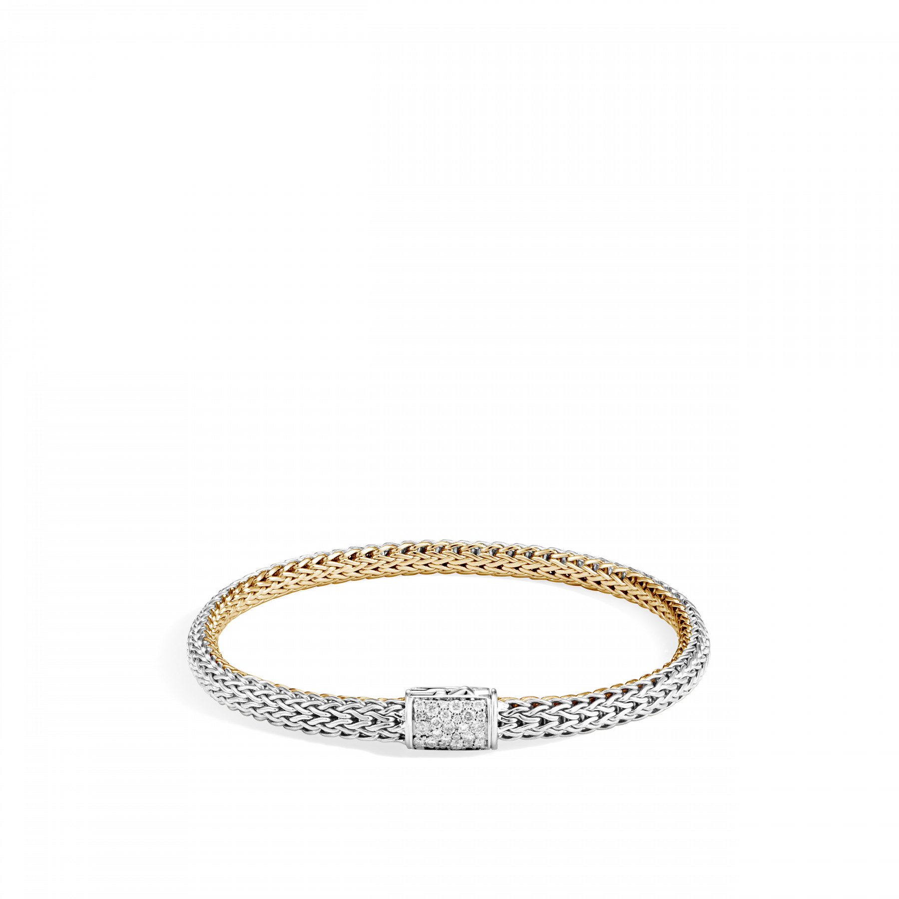 John Hardy Reversible 5mm Sapphire and Diamond Bracelet in Silver and 18K gold silver image