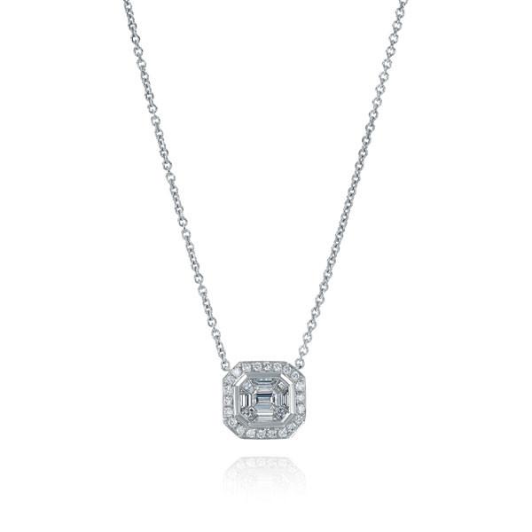 18kt White Gold Baguette Diamond Cluster Pendant Necklace