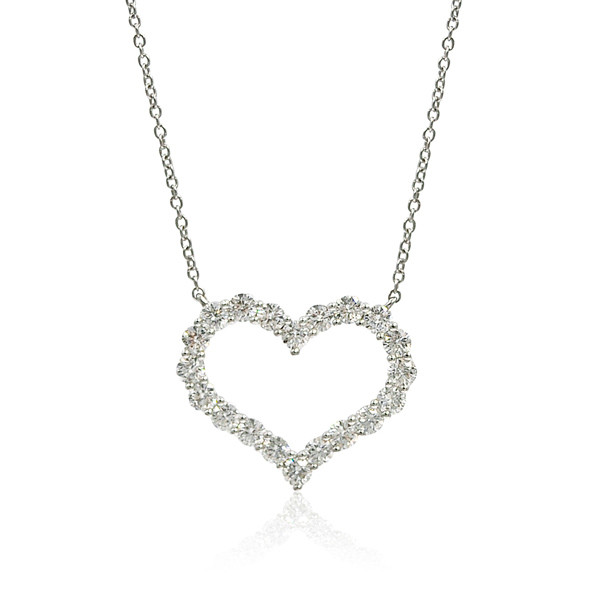 Open Heart White Gold Diamond Necklace