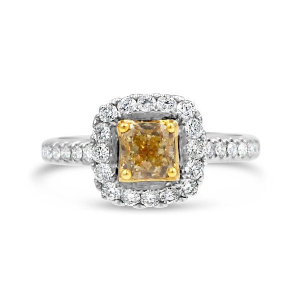 White Gold Yellow Diamond Halo Ring