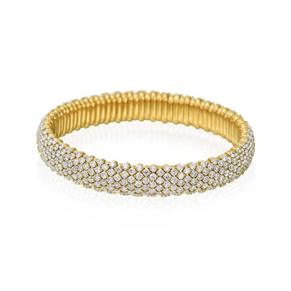 Yellow Gold Diamond Flex Bangle Bracelet