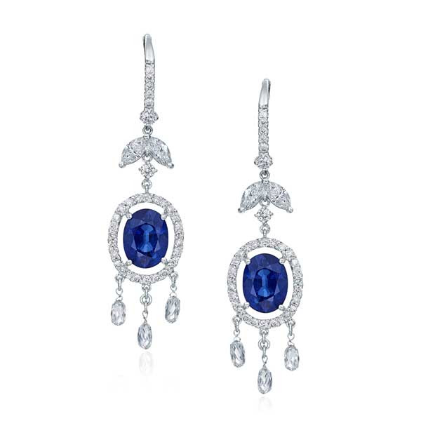 Blue Sapphire and Diamond Dangle Earrings