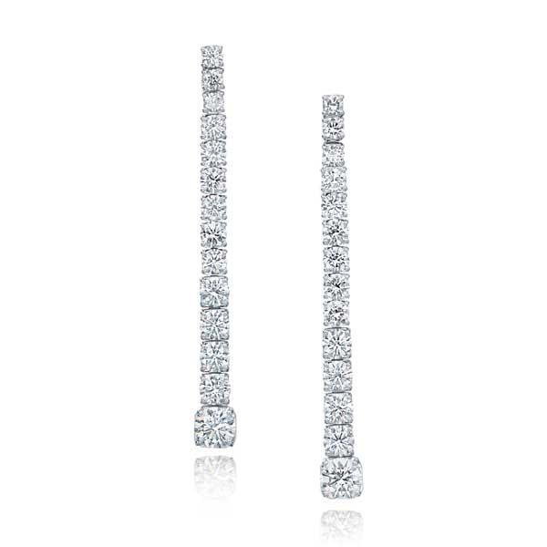 Graduated Diamond Drop Earrings in White Gold