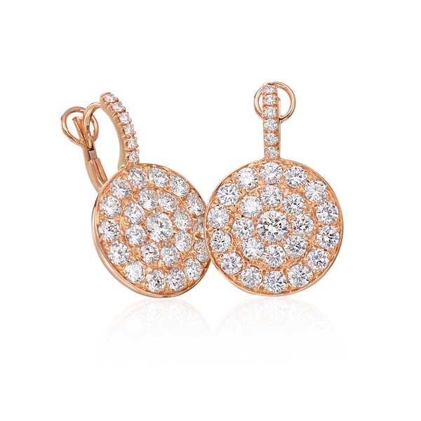 Rose Gold Diamond Circle Earrings