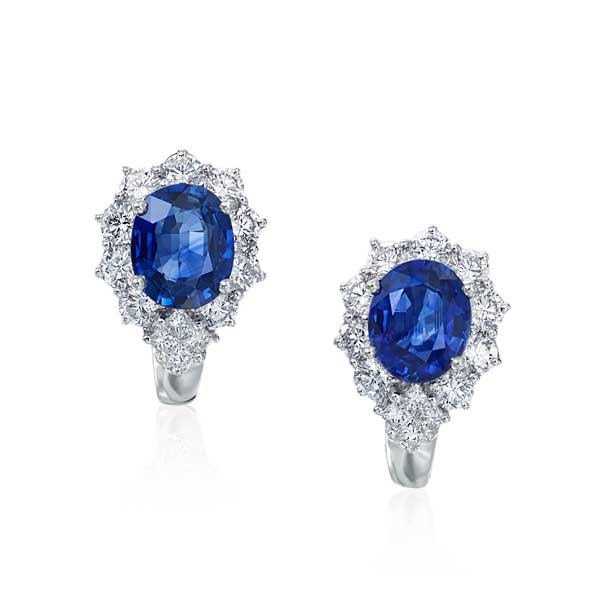 White Gold Blue Sapphire & Diamond Omega Back Earrings