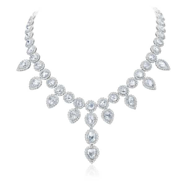 White Gold Pear Shape Diamond Drop Necklace