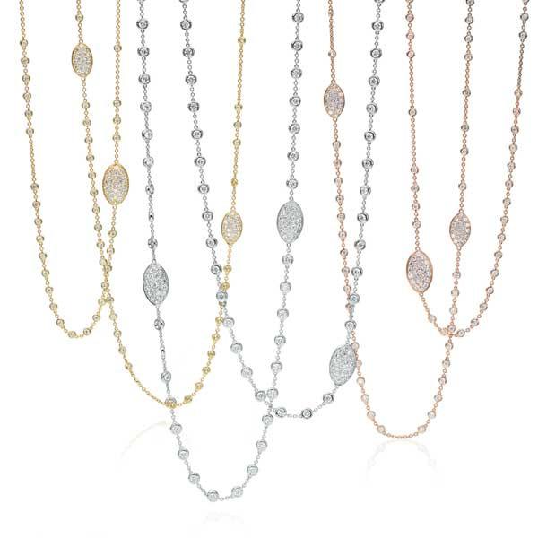 "White Gold 42"" Diamond Station Necklace"