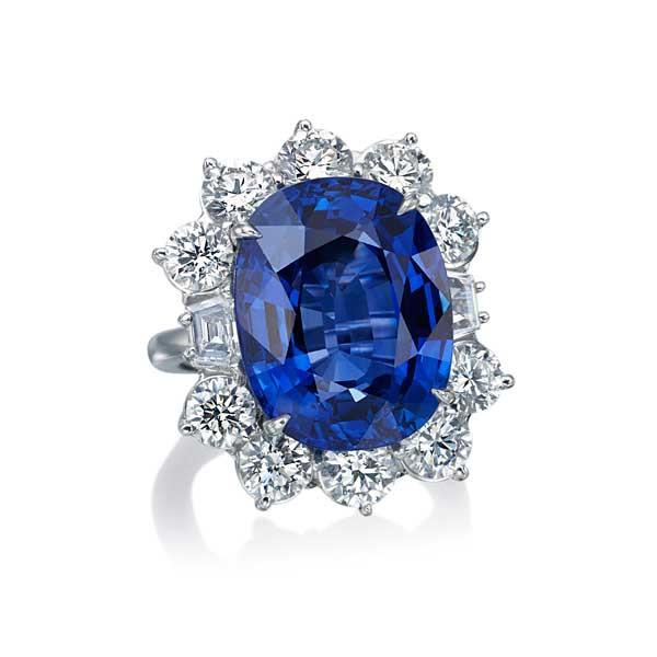 Platinum Blue Sapphire Cushion Cut Diamond Ring