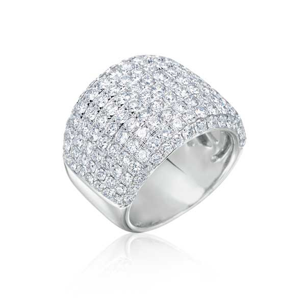 White Gold Wide Diamond Band Ring