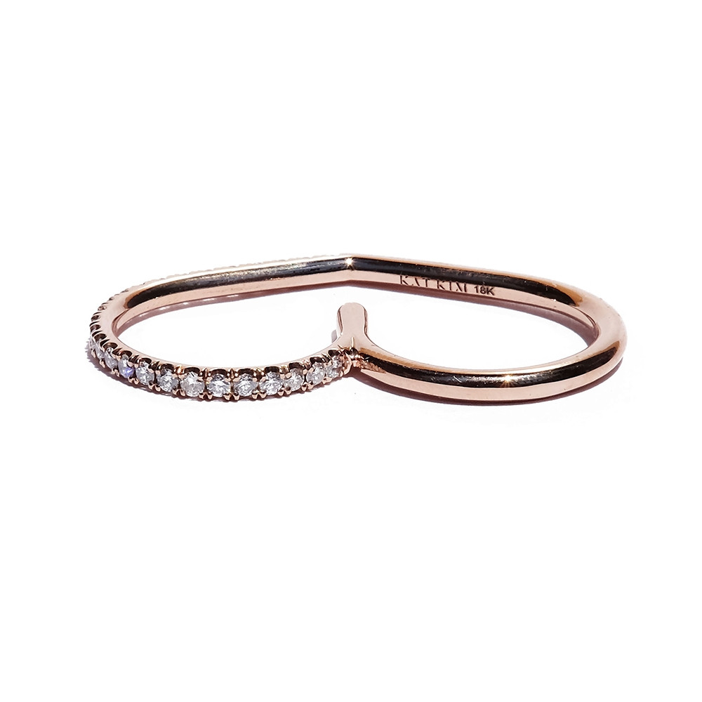 KATKIM Diamond Eternal Double Ring in Rose Gold Flat Lay