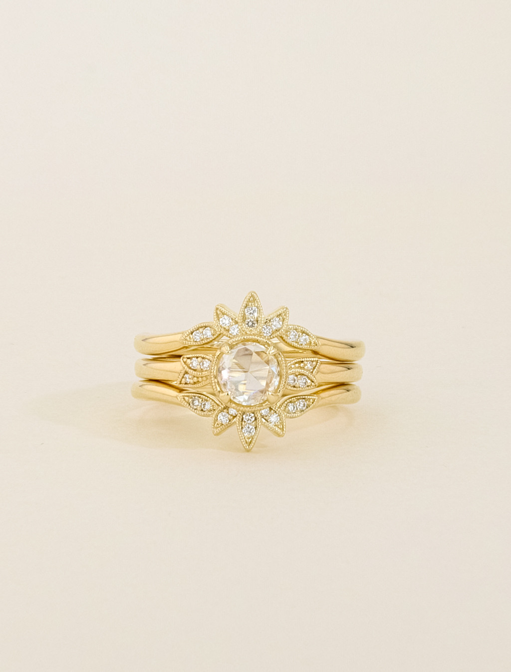 Kirk Kara Rose Cut Diamond Vintage Wedding Ring Set in Yellow Gold