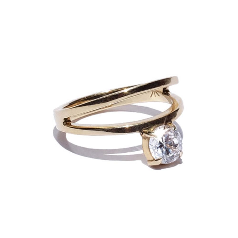 KATKIM Floating Diamond Double Band Engagement Ring Setting Upside Down