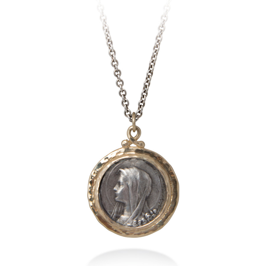 Brother Wolf Sanctus Our Lady of Lourdes Two Tone Pendant Necklace