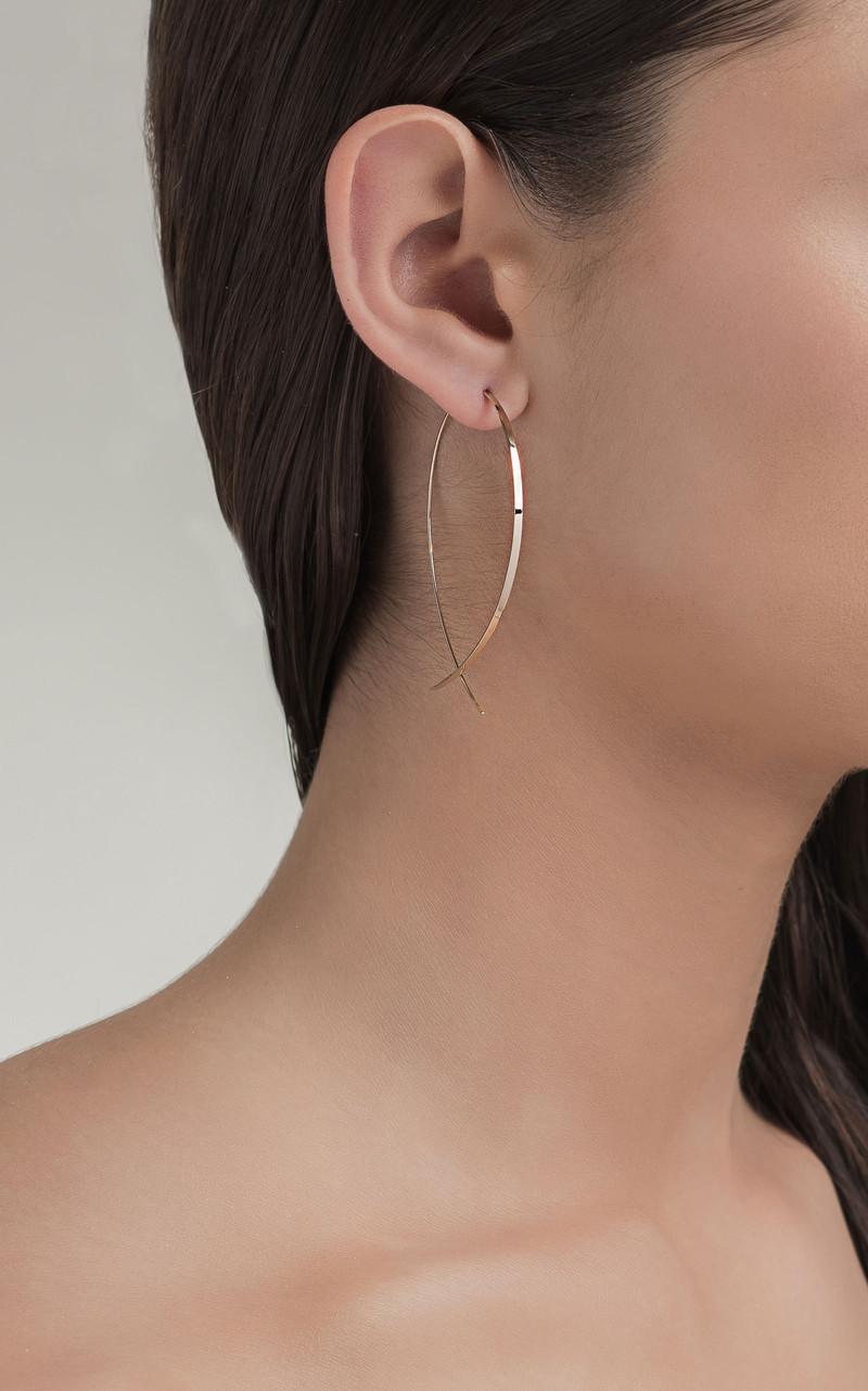Lana Upside Down Flat Hoop Earrings in 14K Yellow Gold on model