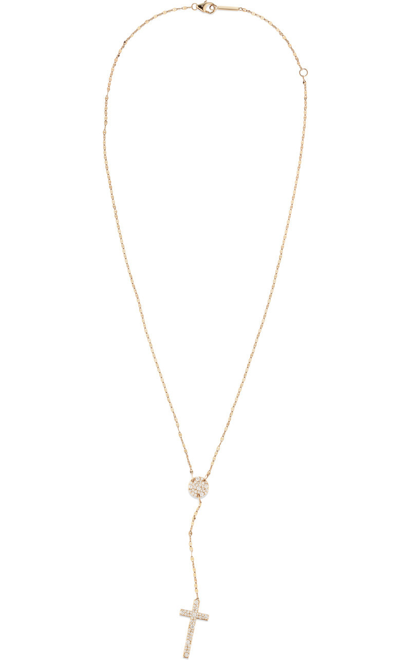 Lana Mega Flawless Cross Lariat Necklace in 14K Yellow Gold