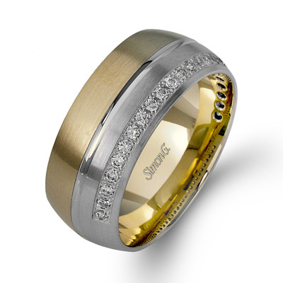 Simon G LL120 Two Tone Men's Wedding Band