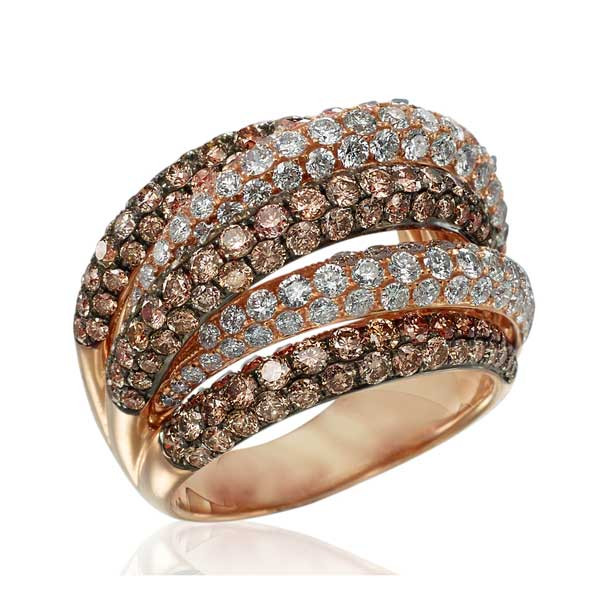 18kt Rose Gold White & Champaign Diamond Ring
