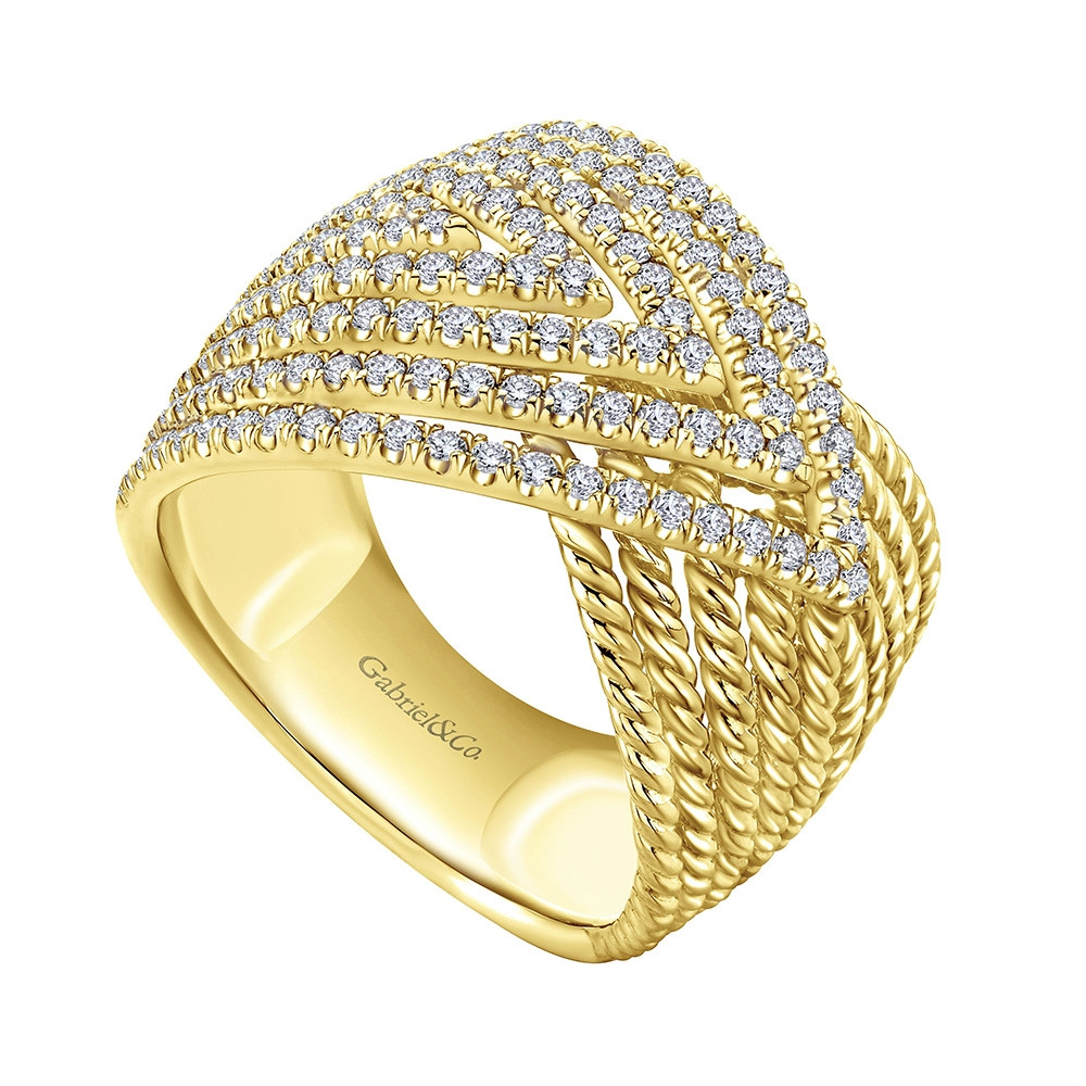 Hampton Gabriel & Co. Yellow Gold Twisted Overlap Diamond Ring