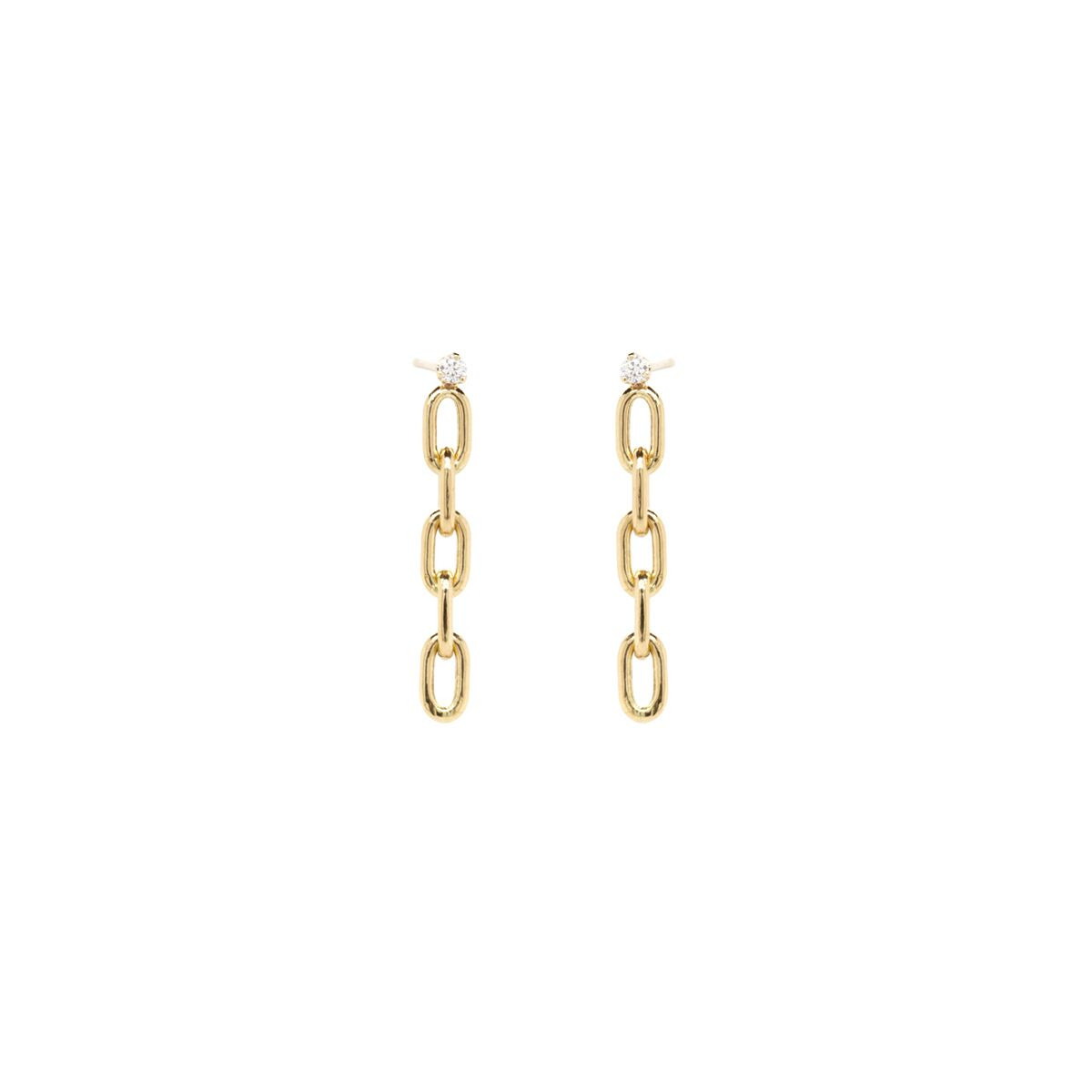 Zoe Chicco Gold Oval Link Diamond Drop Earrings