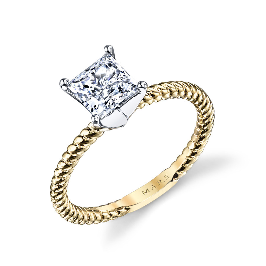 MARS Ever After Princess Solitaire Twist Engagement Ring Setting Angle View