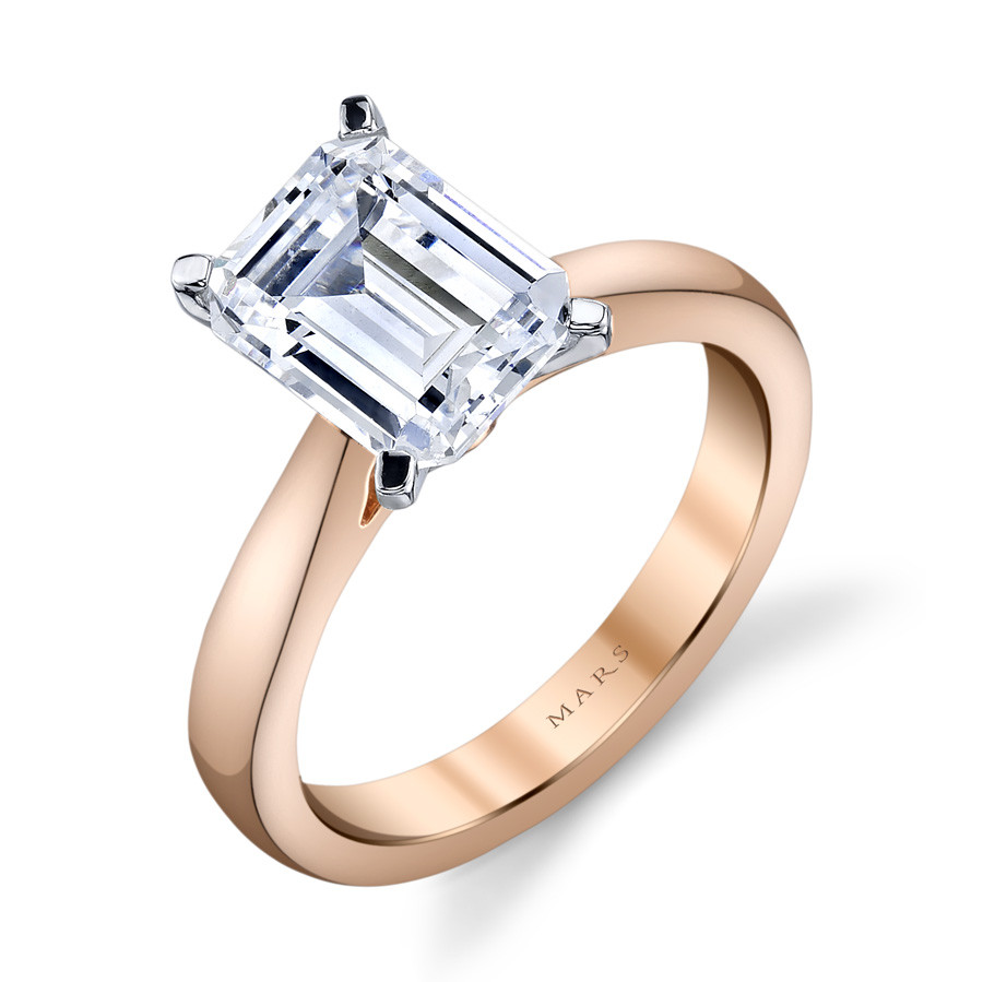 MARS Ever After Emerald Cut Cathedral Solitaire Engagement Ring Setting Angle View