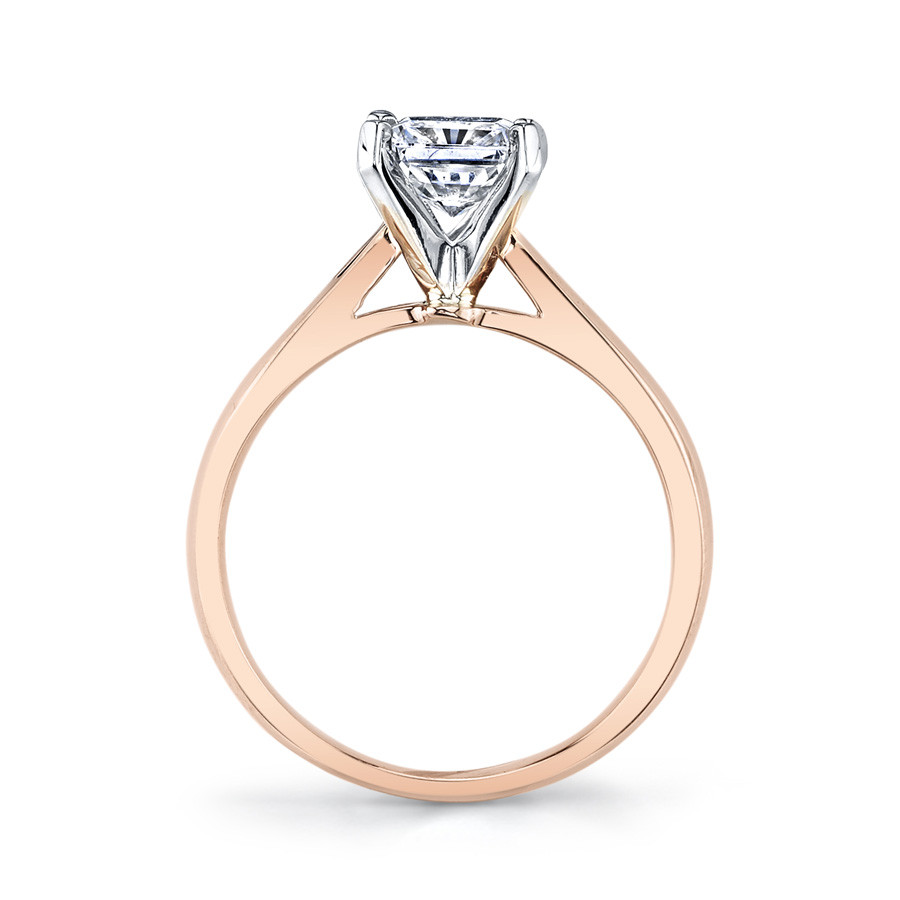 MARS Ever After Emerald Cut Cathedral Solitaire Engagement Ring Setting Side View