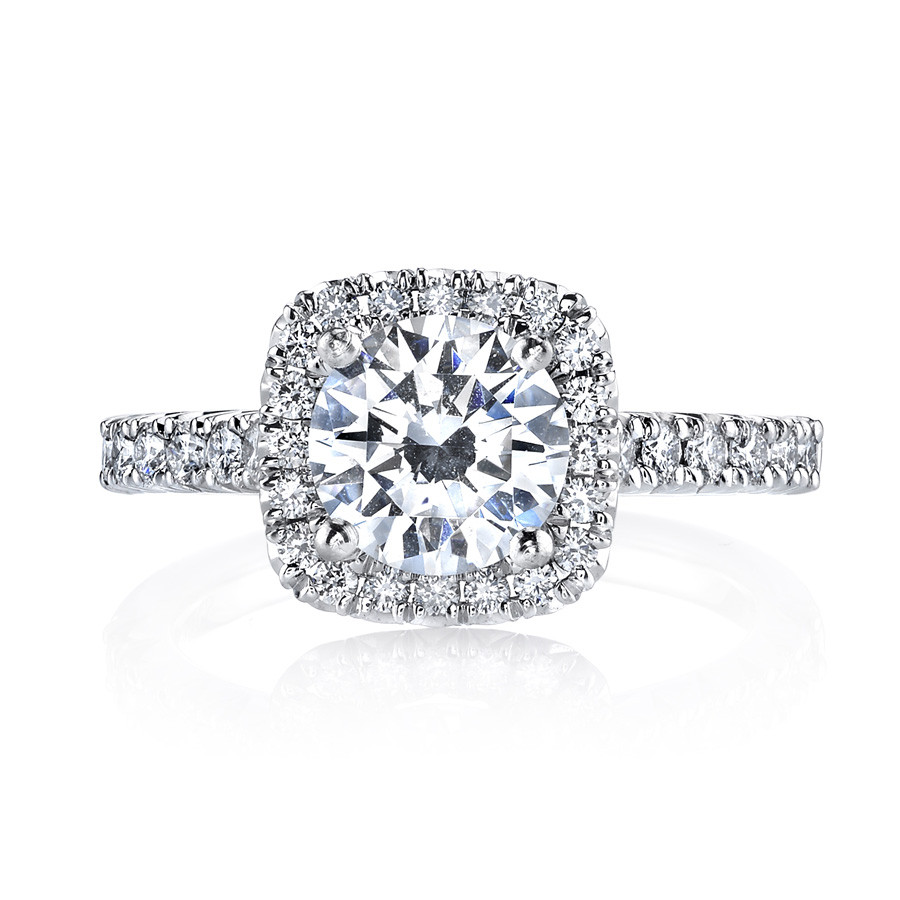 MARS Ever After Cushion Diamond Halo Engagement Ring Setting