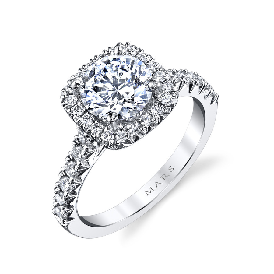 MARS Ever After Cushion Diamond Halo Engagement Ring Setting Angle View