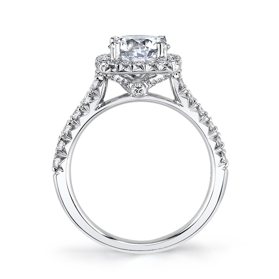 MARS Ever After Cushion Diamond Halo Engagement Ring Setting Side View
