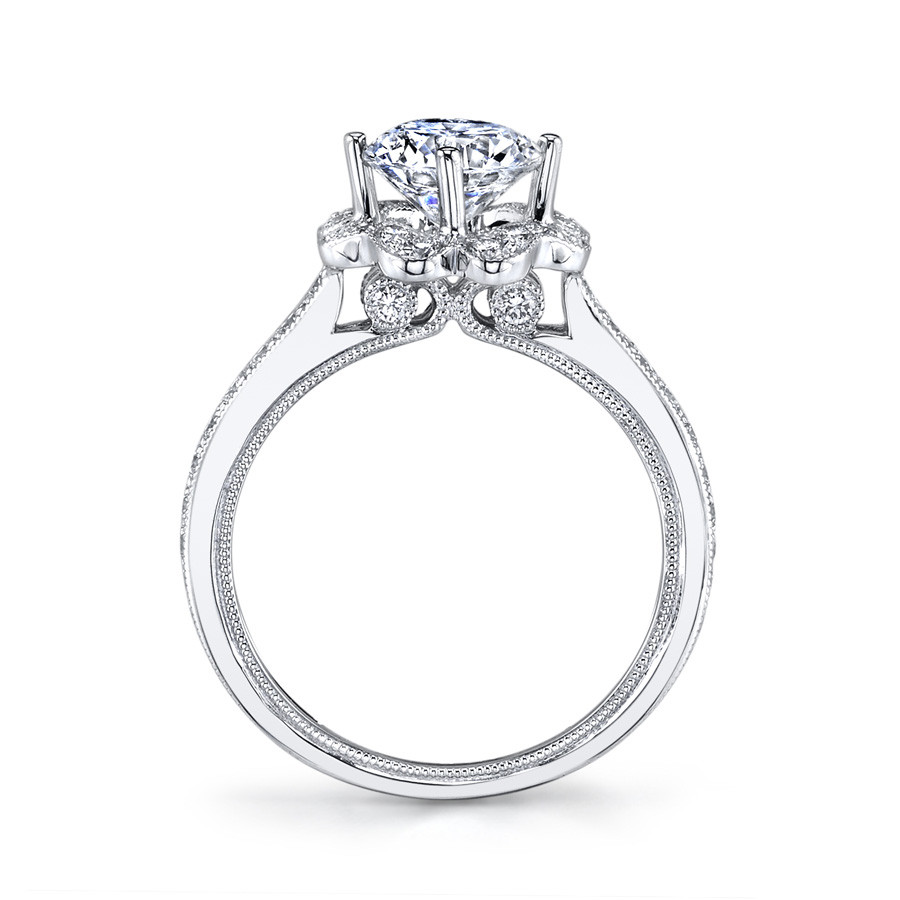 MARS Golden Blossoms Diamond Petal Halo Engagement Ring Setting Side View