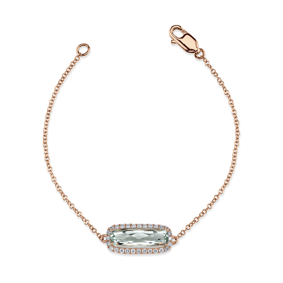 MARS Golden Blossoms Rose Gold Green Amethyst & Diamond Station Bracelet