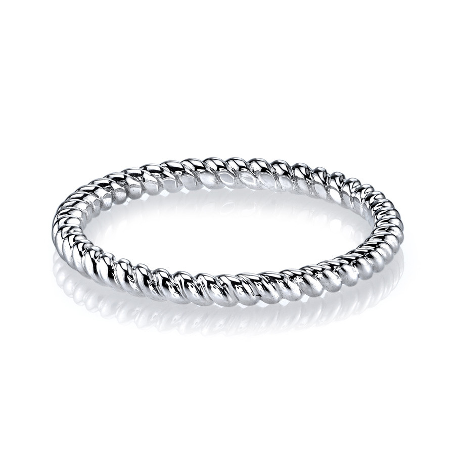 MARS Modern Muses White Gold Twist Stackable Band Ring