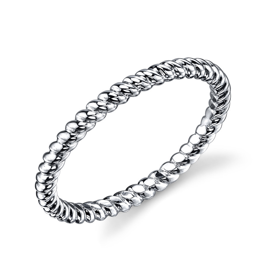 MARS Modern Muses White Gold Twist Stackable Band Ring Angle View