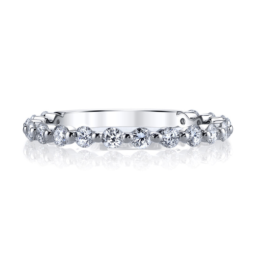 MARS Ever After Shared Prong Diamond Wedding Ring Band Front View