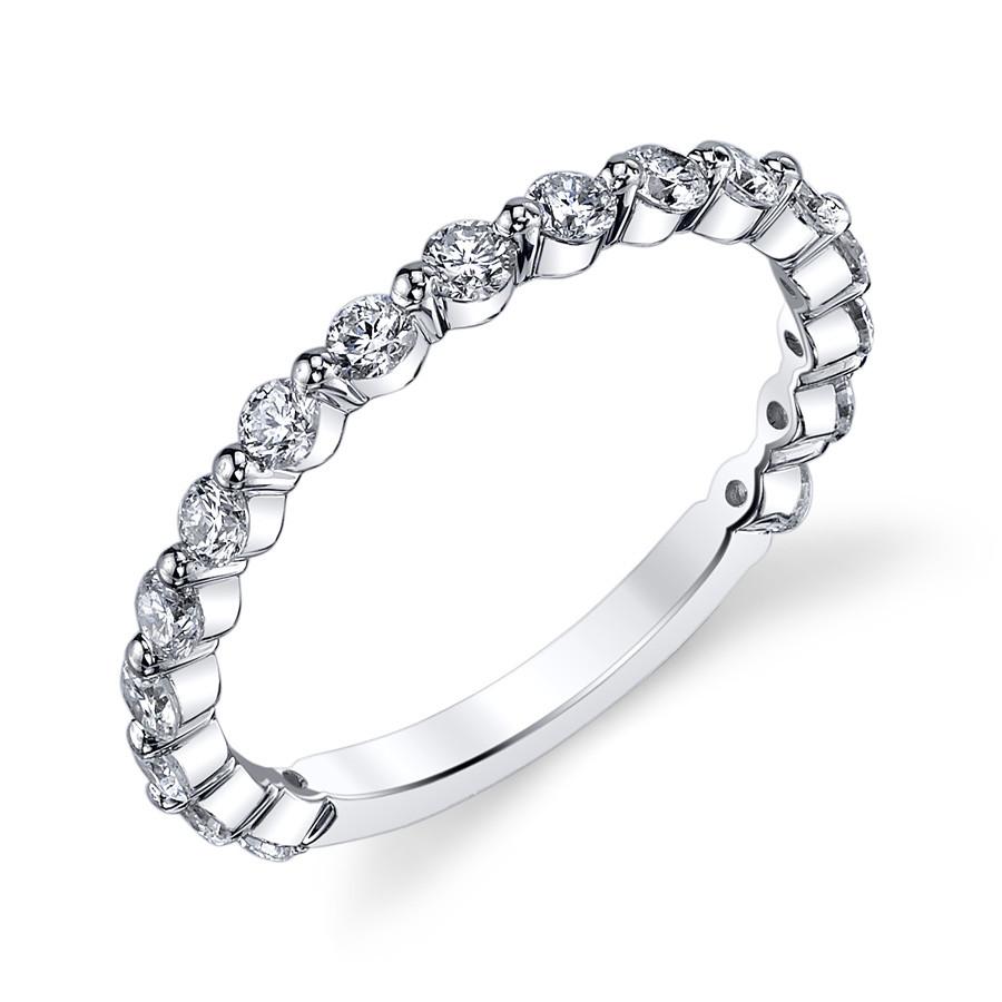 MARS Ever After Shared Prong Diamond Wedding Ring Band Angle View